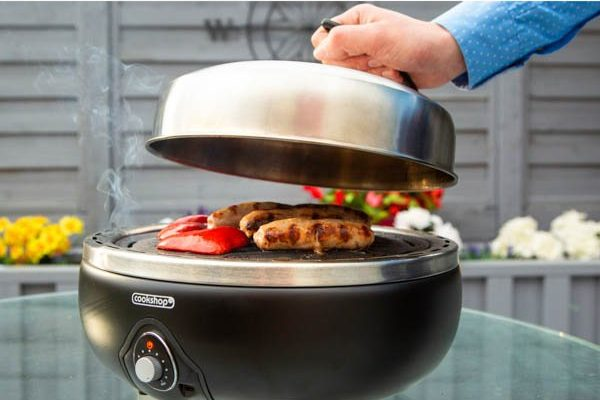 Portable bbq in use